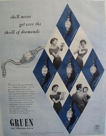 Diamond set Green Watch 1949 Ad