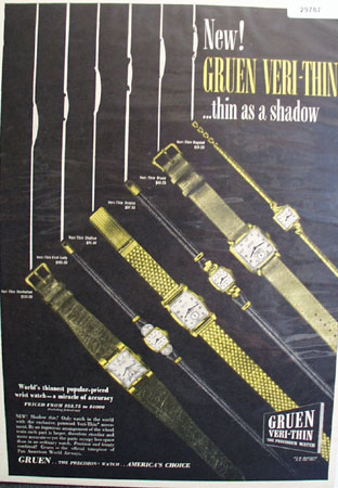 Green Veri Thin Watch 1947 Ad
