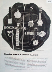 Esquire Watch Fashion Time Table 1949 Ad