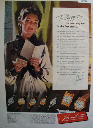 Hamilton Watch to Peggy from Jim 1949 Ad