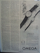 Omega Lifetime accuracy Watch 1951 Ad.