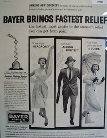 Bayer Aspirin Fastest Relief 1959 Ad