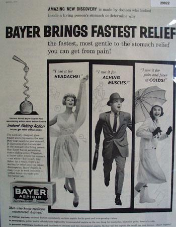 Bayer Aspirin Fastest Relief 1959 Ad