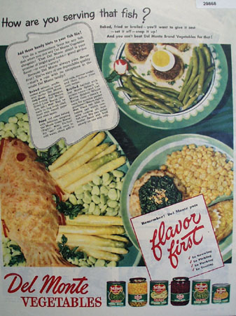 Del Monte Flavor First Vegetables 1946 Ad