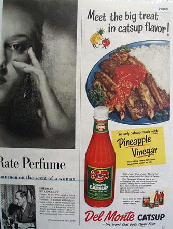 Del Monte Catsup with Pineapple Vinegar 1950 Ad