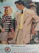 Hart Schaffner and Marx Woman Striped Top Ad 1947