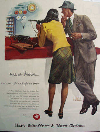 Hart Schaffner And Marx Sure As Shootin Ad 1945