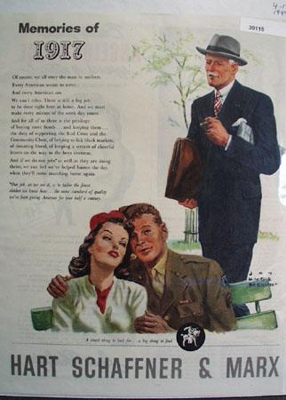 Hart Schaffner And Marx Memories of 1917 Ad 1944
