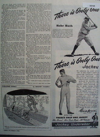Jockey Underwear and Babe Ruth Ad 1946