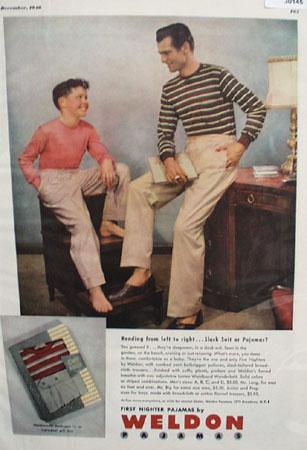 Weldon Pajamas Father Son Slack Suit Ad 1948