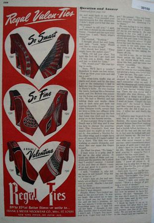 Regal Ties Valenties Ad 1949