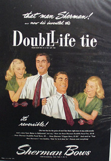 Sherman Bows Double Life Tie Ad 1947