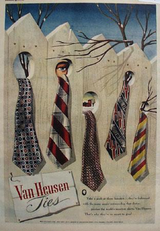 Van Heusen Ties Take A Peek Ad 1947