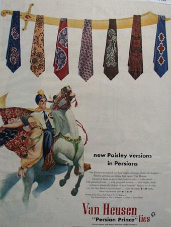 Van Heusen Paisley Versions Tie Ad 1950