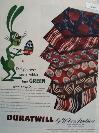 Duratwill Ties and Green Rabbit Ad 1946