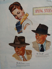 Mallory Hats For Men Ad 1947