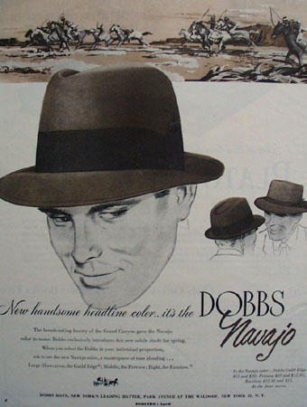 Dobbs Hats New Navajo Color Ad 1953
