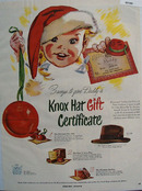Knox Hat Gift Certificate Christmas Ad 1950