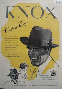 Knox Custom Edge Hat Ad 1948