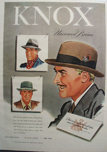 Knox Hats Narrowed Brims Ad 1947