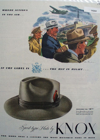 Knox Hat Where Action Is In The Air Ad 1944