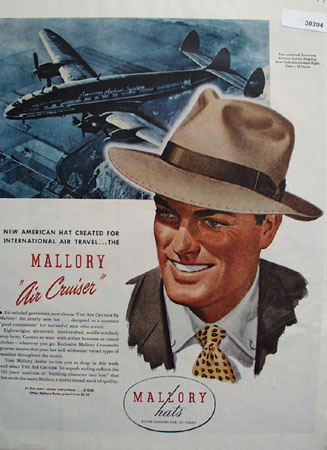Mallory Hats For International Air Travel Ad 1946