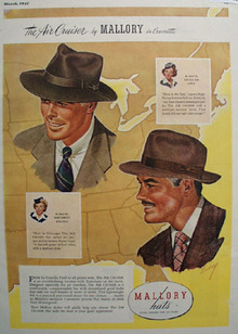 Mallory Hats As Seen On United and NW Airlines Ad 1947