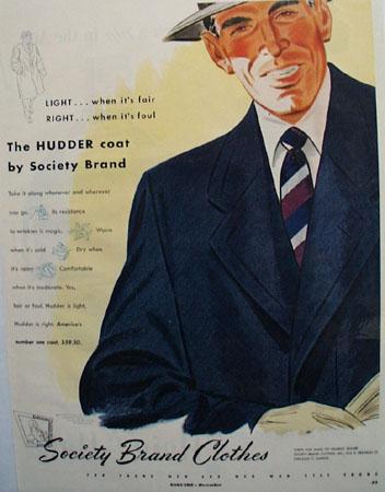 Society Brand Hudder Coat Ad 1949