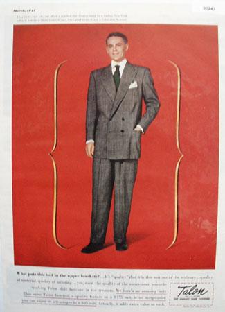 Talon Zipper Suit In Upper Brackets Ad 1947