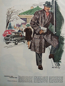 Coating Commuter Drawing By Mal Murley Ad 1947