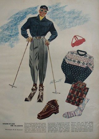 Snowplow or Slalom Drawing by H K Runnette Ad 1947