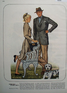 Man Woman Dog Drawing by K Milroy Ad 1947
