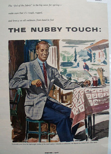 The Nubby Touch Man Sitting At Table  Ad 1953