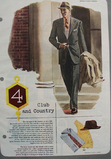 Club And Country Drawing by M Burniston Ad 1949