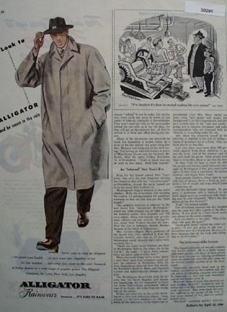 Alligator Rainwear Be Smart In The Rain Ad 1946