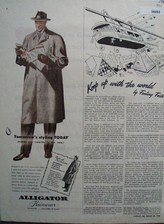 Alligator Rainwear Tomorrows Styling Today Ad 1946