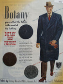 Botany 500 Overcoat Man Wear Blue Coat Ad 1944