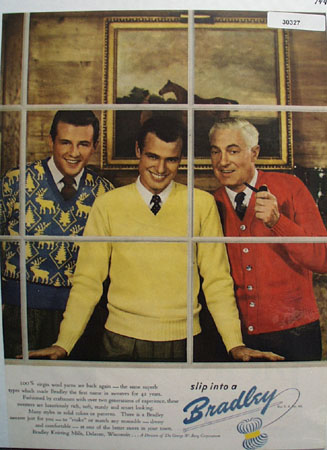 Bradley Mens Sweaters  3 Men in Window Ad 1947
