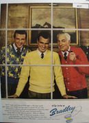 Bradley Mens Sweaters  3 Men in Window Ad 1947