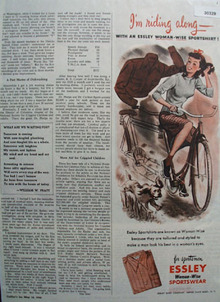 Essley Sportswear Woman On Bicycle Ad 1946