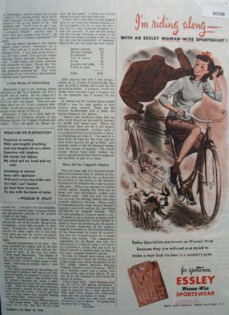 Essley Sportswear Woman On Bicycle Ad 1946