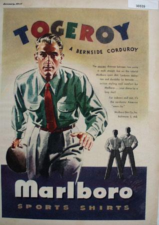 Marlboro Sports Shirt Man Bowling Ad 1947
