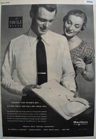 Marlboro Holiday for Fathers Day Shirt Ad 1948