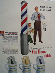 Van Heusen Shirts And Barber Pole Ad  1948