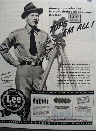 Lee Work Clothes Surveyor At Work Ad 1944