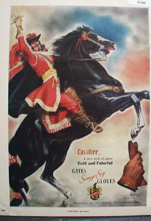 Gates Mills Cavalier Man on Rearing Horse Ad 1949