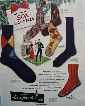 Coopers Mens Hosiery Christmas Ad 1949