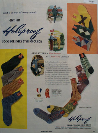 Holeproof Mens Socks Fathers Day Ad 1951