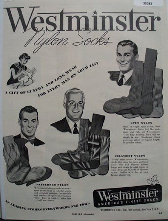 Westminster Nylon Socks Christmas Ad 1949