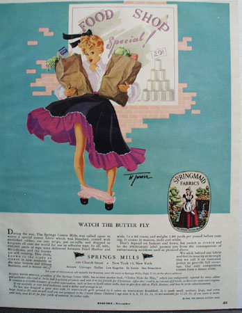Spring Mills Watch The Butter Fly Ad 1949